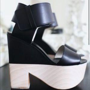 Celine Leather Colorblock Pattern Sandal Heels